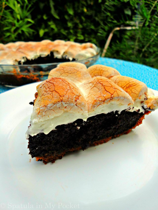 S'mores Brownie Pie. A biscuit crust, a brownie filling, and topped with gooey roasted marshmallows=YUM  Recipe at: https://spatulainmypocket.com/2015/08/17/smores-brownie-pie/