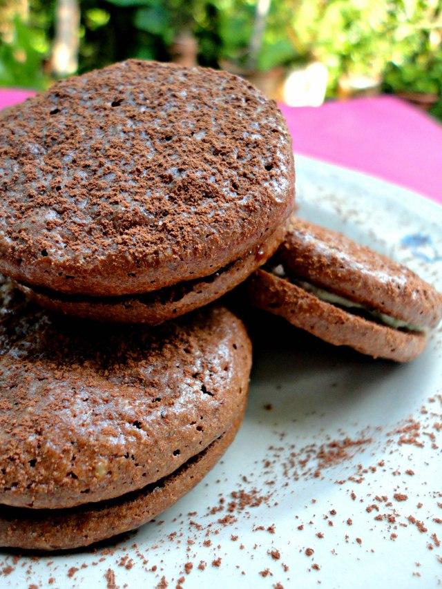 Chocolate macarons turned maronis