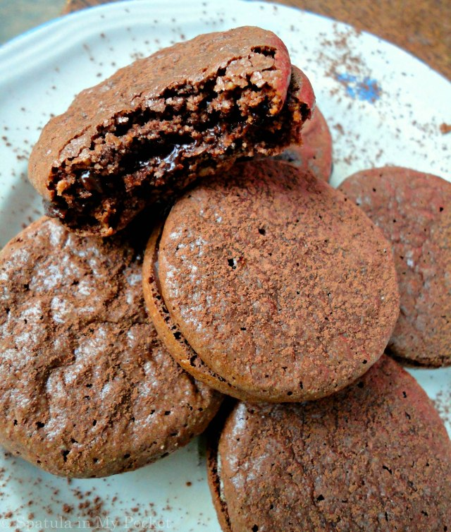 Chocolate macarons turned maronis