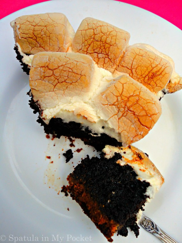 S'more brownie pie! Not just any pie...a biscuit crust, a brownie filling, and topped with gooey roasted marshmallows.