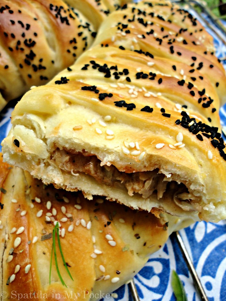 Fresh homemade bread filled with a creamy chicken filling.
