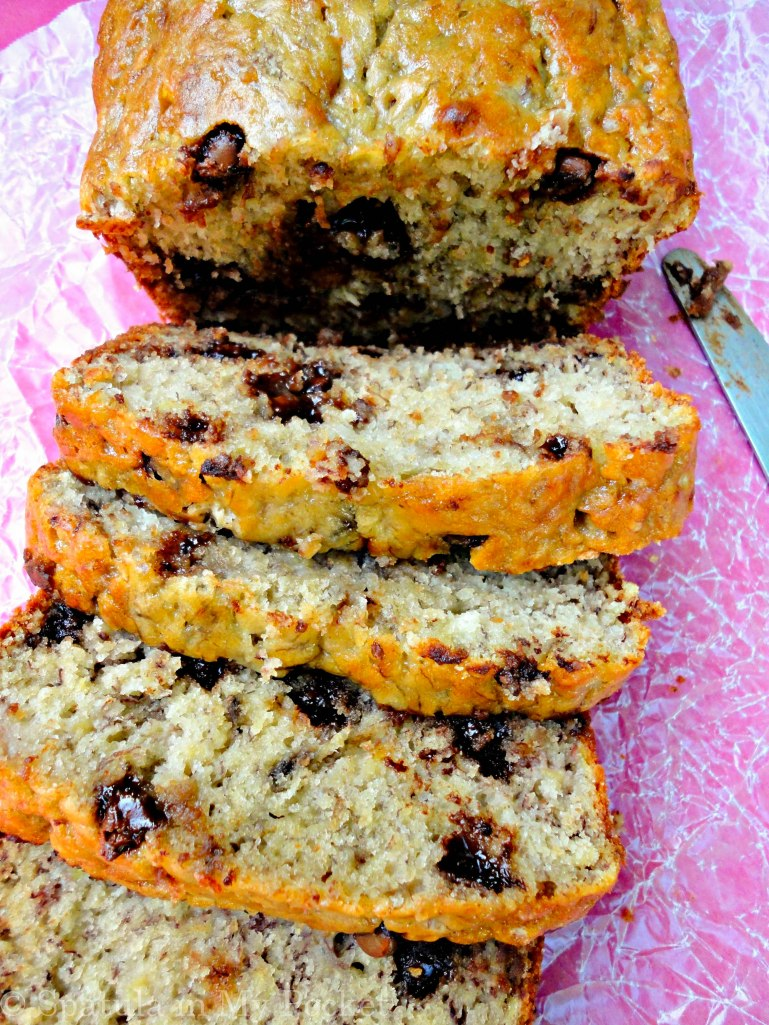 A spin on the classic - super moist banana bread studded with chocolate chips!