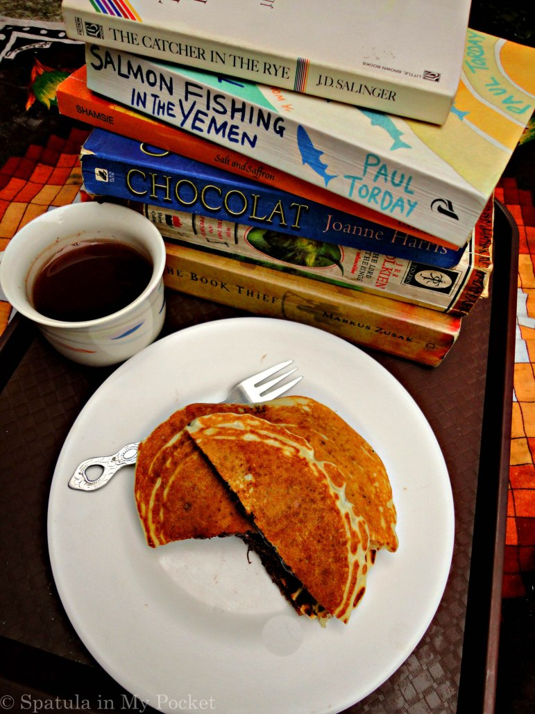 Soft fluffy pancakes stuffed with man's gift to mankind: Nutella.