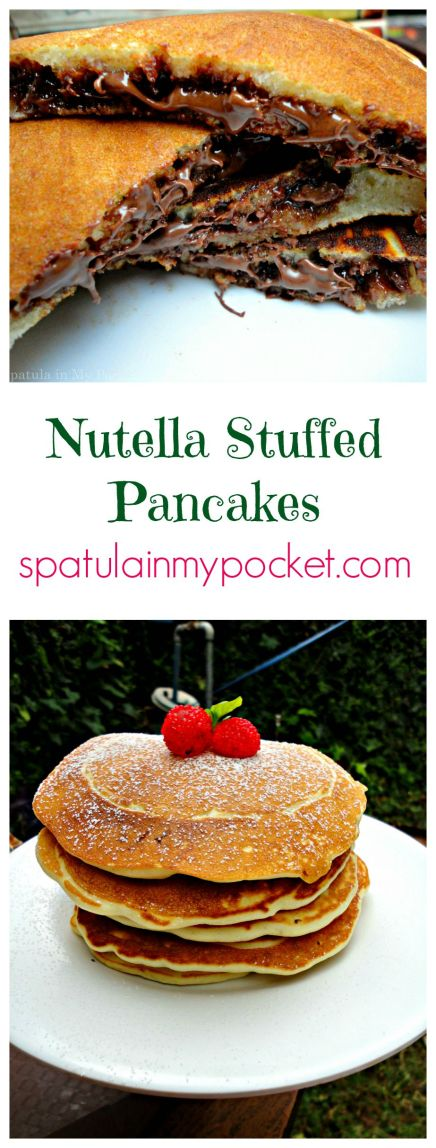 . Soft fluffy pancakes stuffed with man's gift to mankind: Nutella.