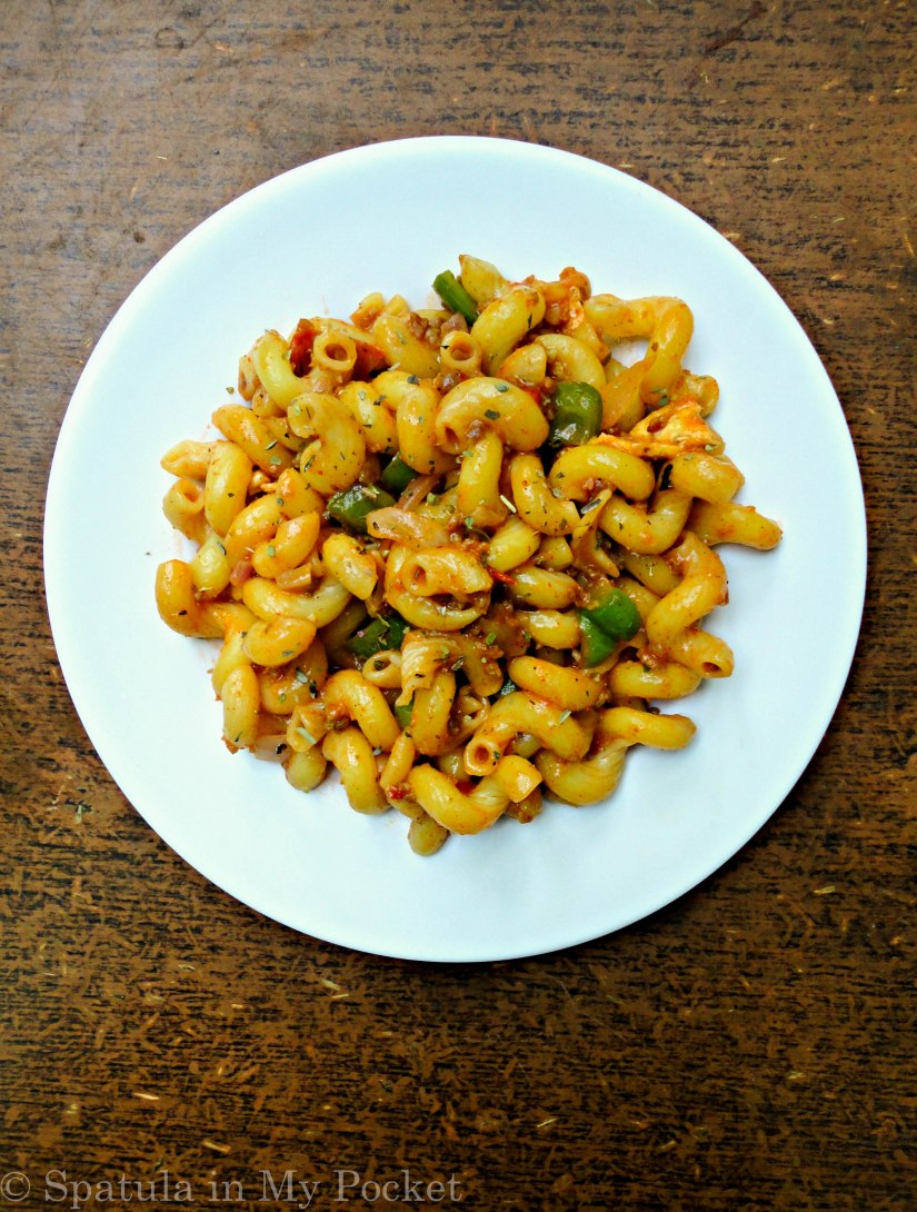 Warm, comforting, saucy, with just a hint of spice… Stir-Fry Pasta with Ground Beef