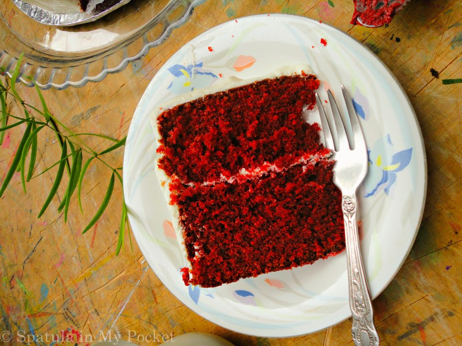 Red Velvet Cake with Whipped Cream Cheese Frosting! Soft and moist; sweet with a hint of tanginess.