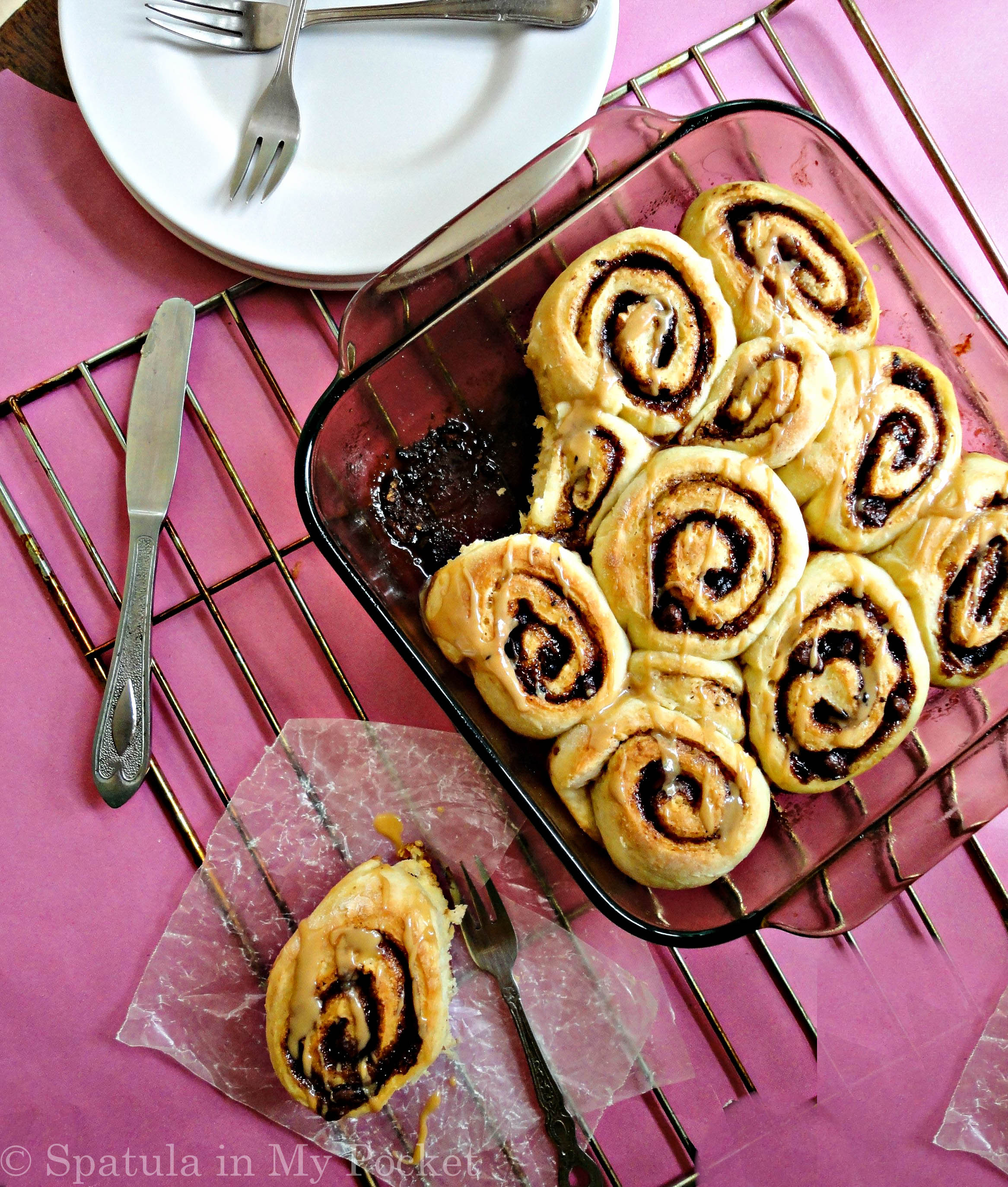 Your standard cinnamon rolls amped up a notch with the glorious addition of coffee and chocolate.
