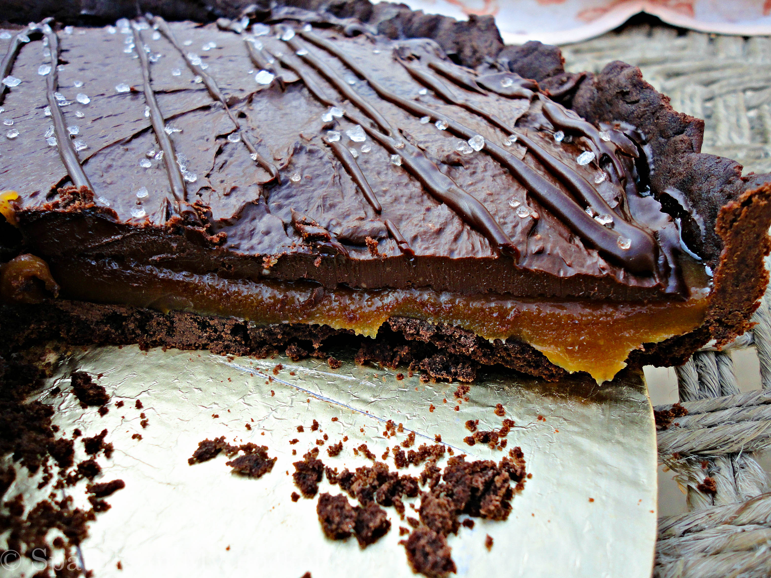 A dark chocolate all-butter cookie crust, lush salted caramel, and an incredibly decadent chocolate ganache –Salted Caramel Chocolate Tart