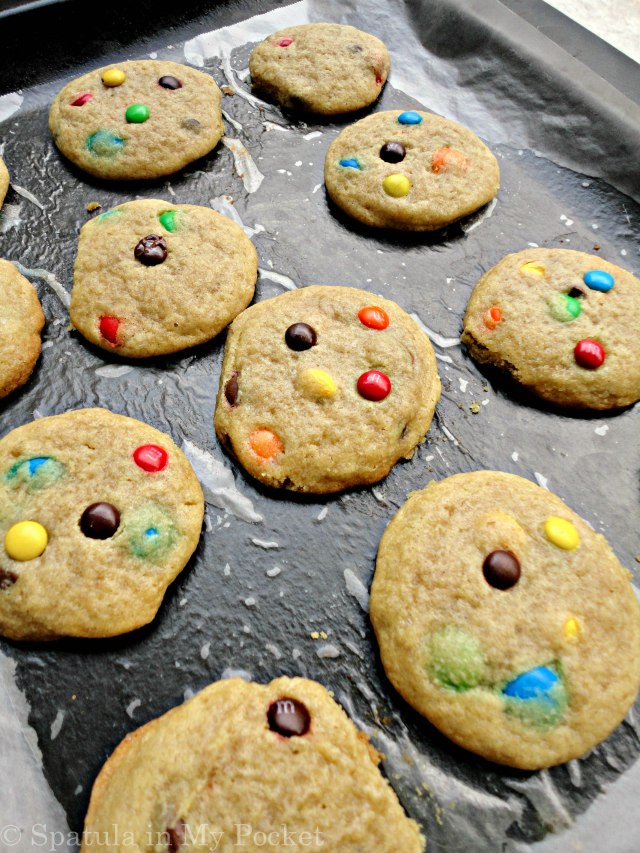 Soft, chewy cookies studded with M&Ms.
