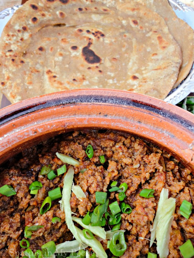 Karhai Qeema + Parathas + Mint Chutney = spicy, smoky, and very very yummy.