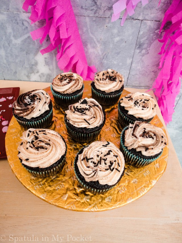 Classic Chocolate Cake with Swiss Meringue Buttercream on Spatula in My Pocket's 1st Blogiversary