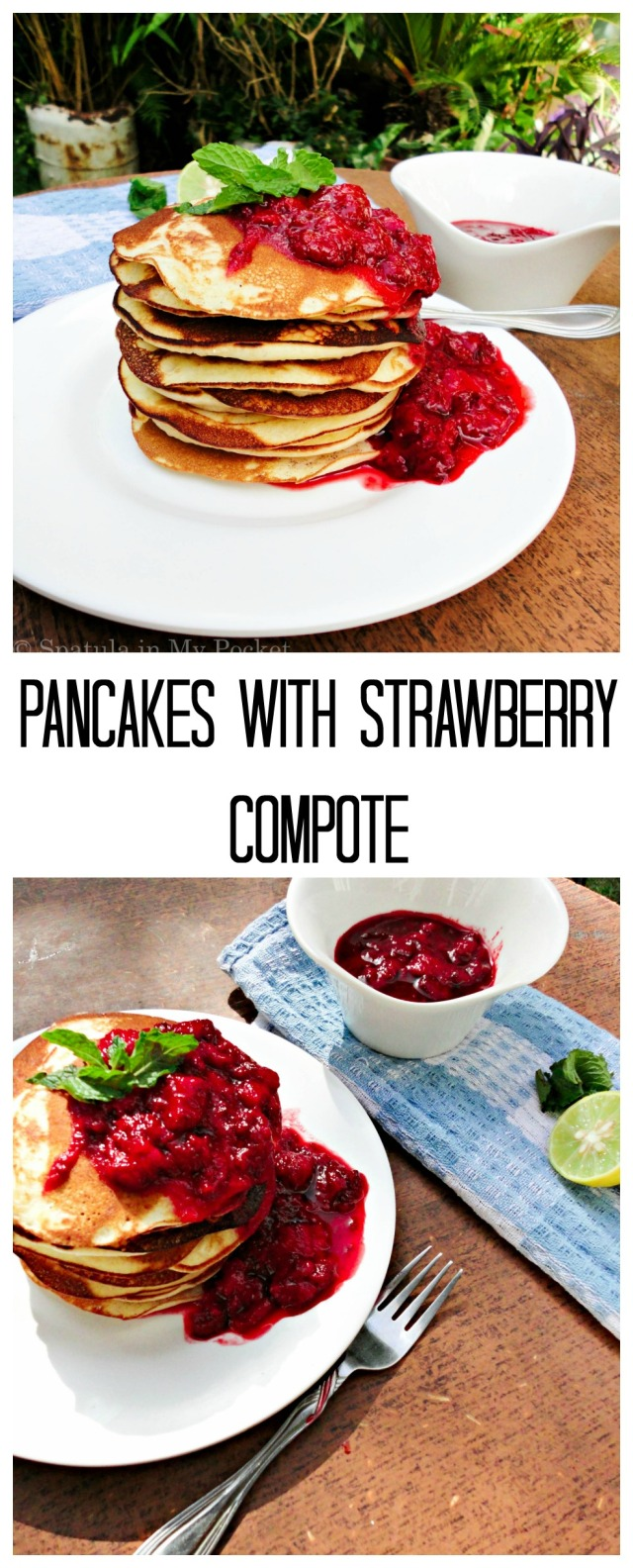 Make use of the fresh strawberries this spring to jazz up your pancakes. Leftover compote is delicious drizzled over ice cream.