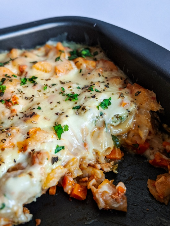 This Baked Pasta is creamy and cheesy, and is the ultimate comfort food!