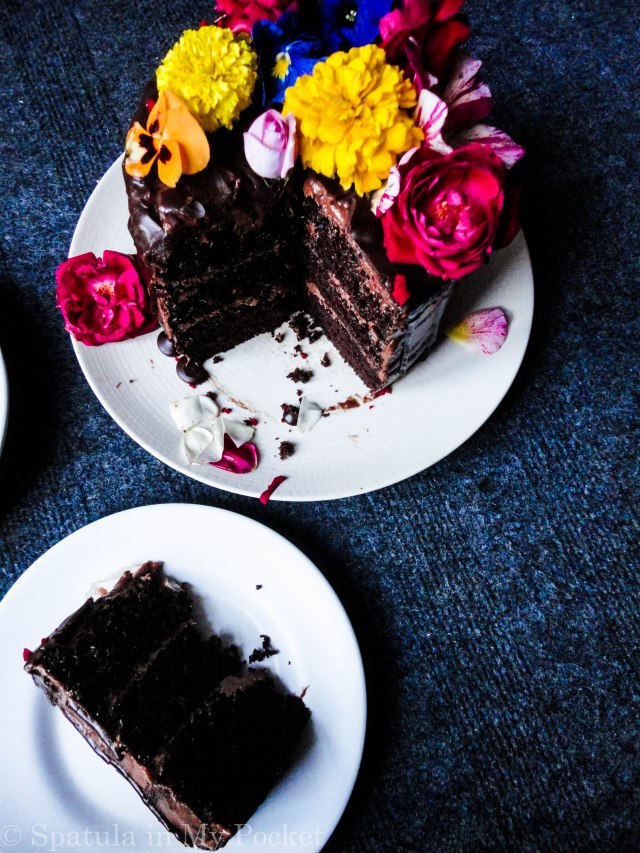 3 layers of rich moist chocolate cake, sandwiched with a dreamy creamy chocolate fudge frosting, and topped with drizzles of smooth lush chocolate ganache.