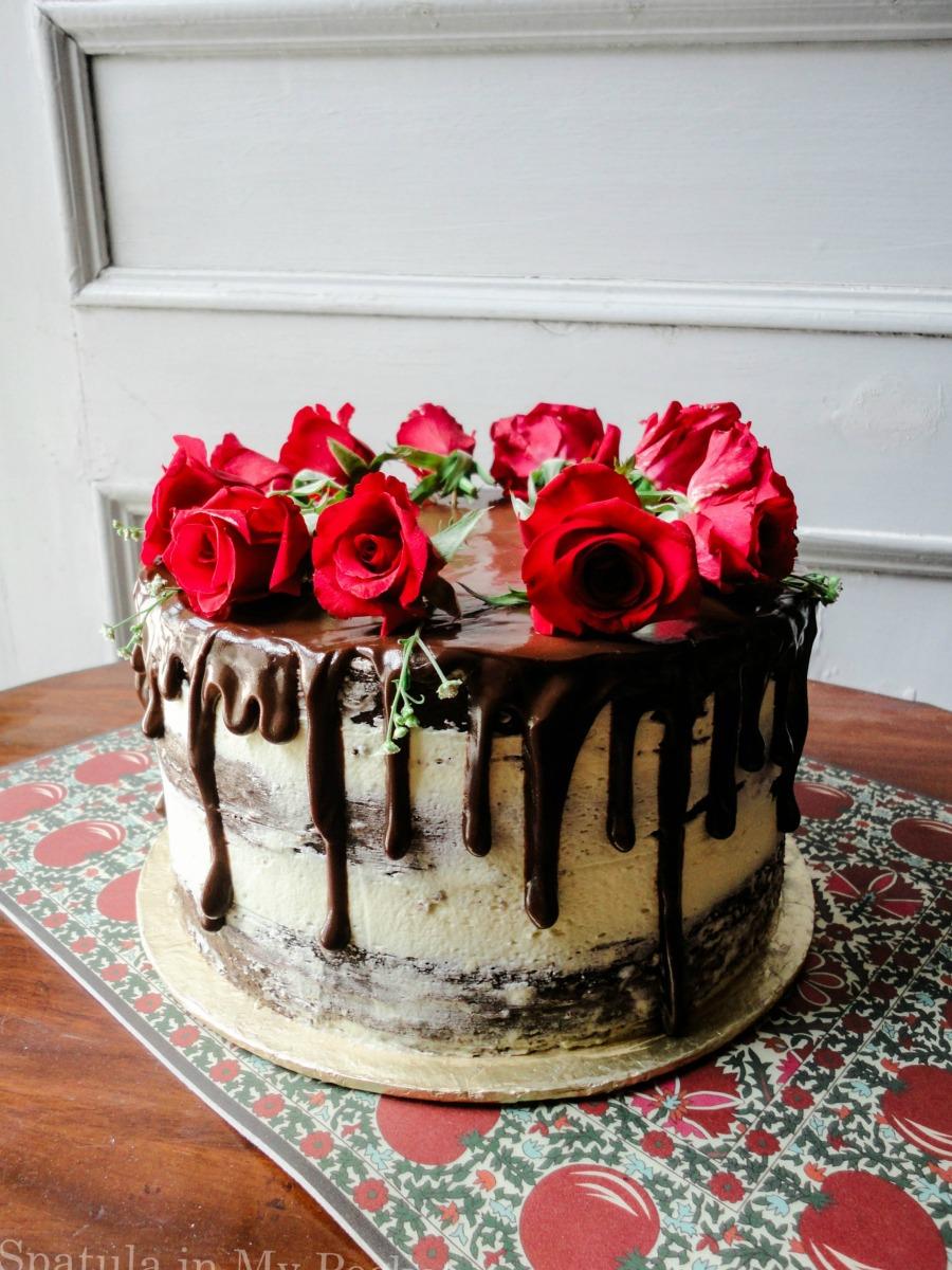 Semi naked cake with fresh roses