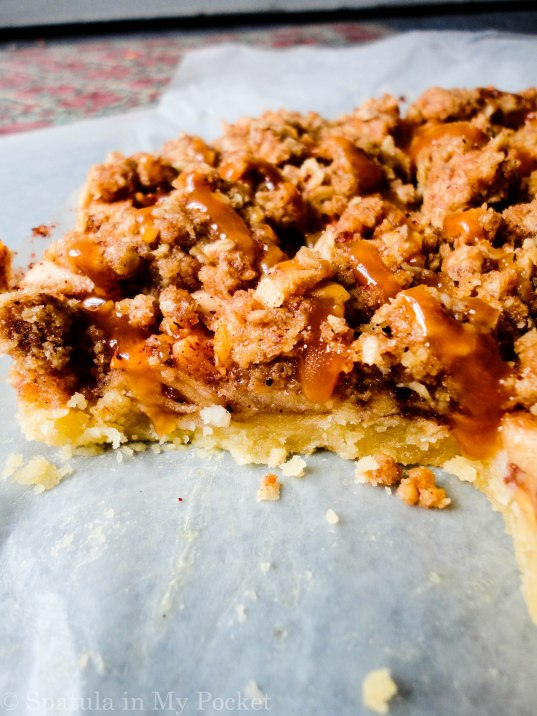 Shortbread crust. Cinnamon apples. Crumb topping. Salted caramel.  Apple pie bars...The perfect fall dessert!