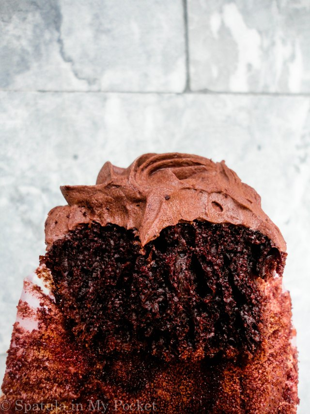 Moist chocolate cupcakes topped with a fudgy chocolate frosting