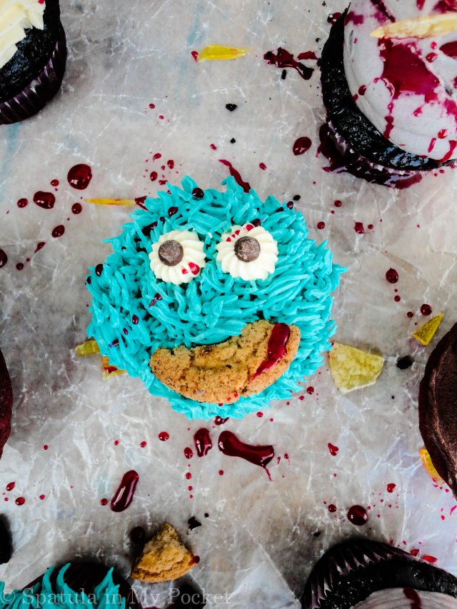 Gashed up cookie monster cupcakes