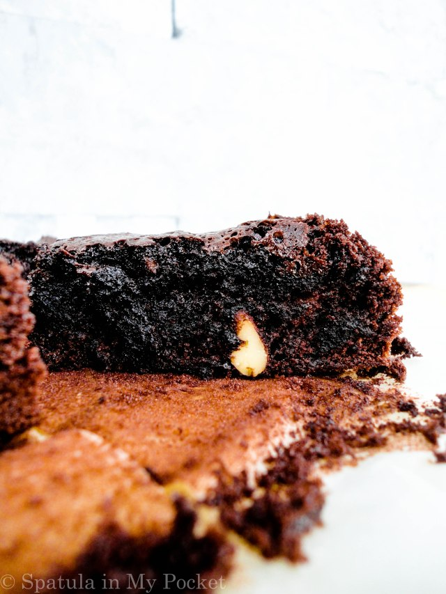 A Rich, fudgy, ALL cocoa brownie. #chocolate #brownies #fudge #spatulainmypocket