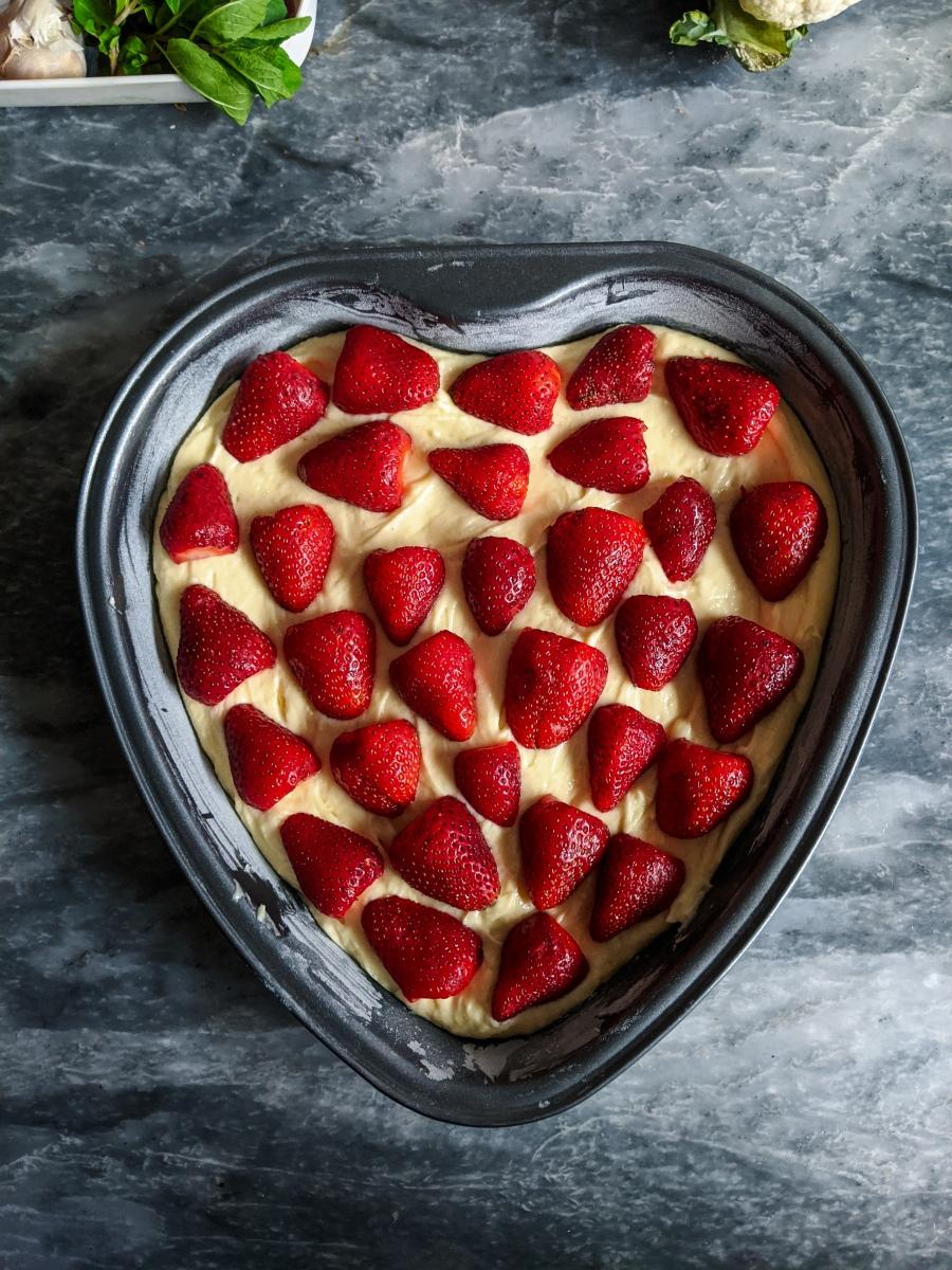 Delicious moist strawberry cake.